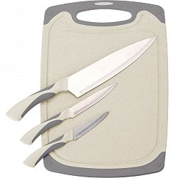 3-dielna sada nožov s doštičkou Excellent, krémová