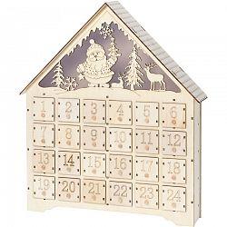 Adventný LED drevený kalendár Secrets of Santa, 37,5 x 43 cm