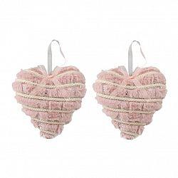 Altom Sada plyšových vianočných ozdôb Hearts 15 cm, 2 ks, ružová