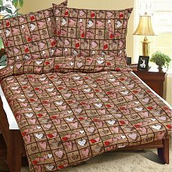 Bellatex Obliečky krep Hnedé srdce, 140 x 200 cm, 70 x 90 cm