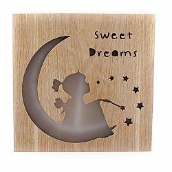 Drevená závesná svietiaca dekorácia Sweet dreams, 25 x 25 cm