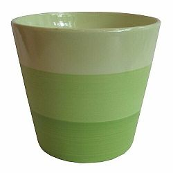 Keramický obal na kvetináč Stripes zelená, pr. 13,5 cm