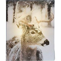 LED Obraz na plátne Animal and snow Reindeer, 20 x 25 cm