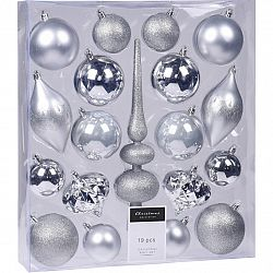 Sada vianočných ozdôb Clotte strieborná, 19 ks