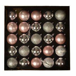 Sada vianočných ozdôb Ornate ružová, box 25 ks