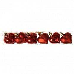 Sada vianočných ozdôb Srdce červená, 6 ks