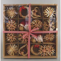 Slamené ozdoby na vianočný stromček, 56 ks