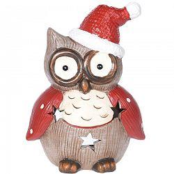 Svietnik na čajovú sviečku Christmas owl dots, 10 x 14 cm