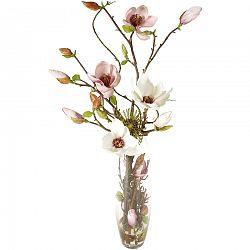 Umelá kvetina Magnólia v sklenenej váze, 71 cm