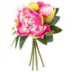 Umelá kvetina zväzok Pivonky tmavoružová, 24 cm