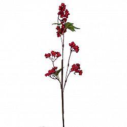 Umelá vetvička s bobuľkami a lístkami 50 cm, červená