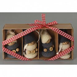 Vianočná dekorácia Pletené bábiky 4 ks, béžová