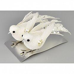 Vianočná dekorácia Vtáčiky 2 ks, biela
