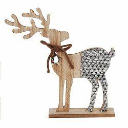 Vianočná drevená dekorácia Reindeer with ribbon hnedá, 26 cm