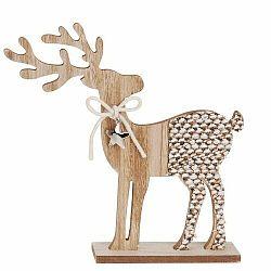 Vianočná drevená dekorácia Reindeer with ribbon sivá, 26 cm