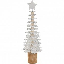 Vianočná drevená dekorácia Snowflake tree, 25 cm