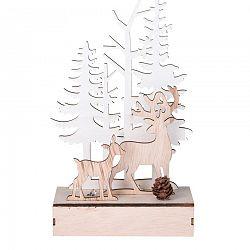 Vianočná drevená LED dekorácia Jeleni v lese, 11 x 5 x 18,2 cm