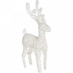 Vianočná drôtená LED dekorácia Reindeer biela, 30 x 45 cm