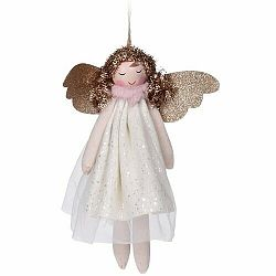 Vianočná závesná dekorácia Anjel Pistoia 17 cm, biela