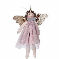 Vianočná závesná dekorácia Anjel Pistoia 17 cm, ružová