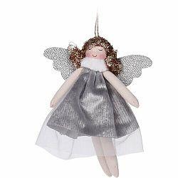Vianočná závesná dekorácia Anjel Pistoia 17 cm, sivá