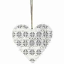 Zavesná kovová dekorácia Cloverleaf heart, 14 cm